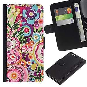 Planetar® Modelo colorido cuero carpeta tirón caso cubierta piel Holster Funda protección Para Apple (5.5 inches!!!) iPhone 6+ Plus ( Art Pattern Vintage Summer )