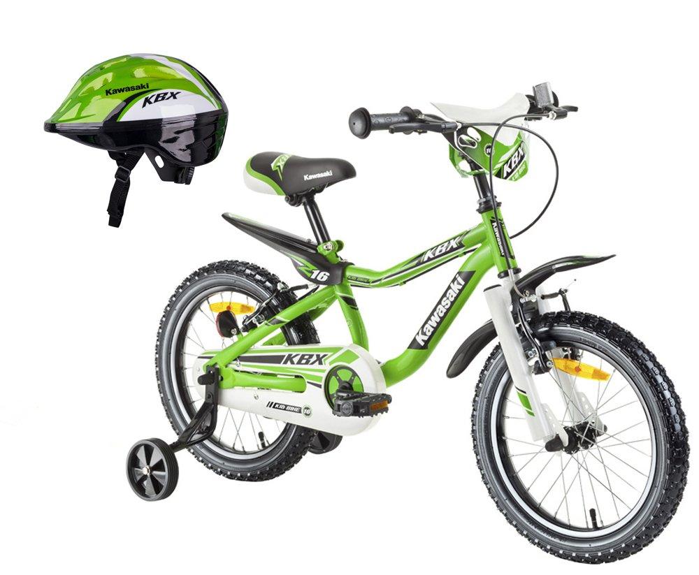 Kawasaki Kinderfahrrad BMX-Fahrrad Juroku 16 Zoll MX16 und Fahrradhelm Shikuro grün Gr. 52-54