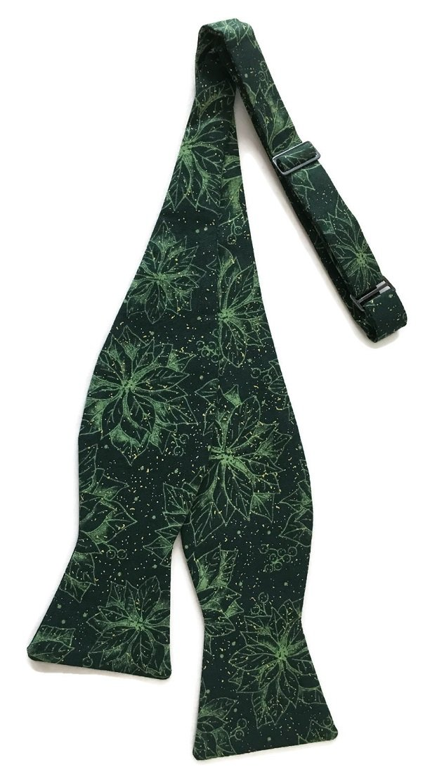 Self-tie Hunter Green Bow Tie Poinsettias and Sparkles of Gold Metallic (Boys)