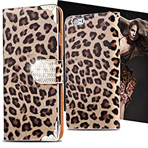 Hot Luxury Leopard Pattern Leather Flip Case for Apple iphone 6 4.7 Glitter Diamond Button Cover Wallet Pouch Card Holder Women --- Color:Sky Blue