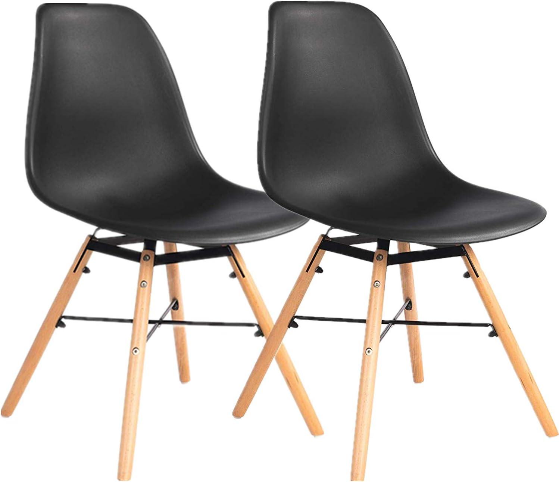 chaises modernes Plastique 2 blanc bureau Ellexir Chaises de salle /à manger en plastique avec pieds en bois id/éales pour salon