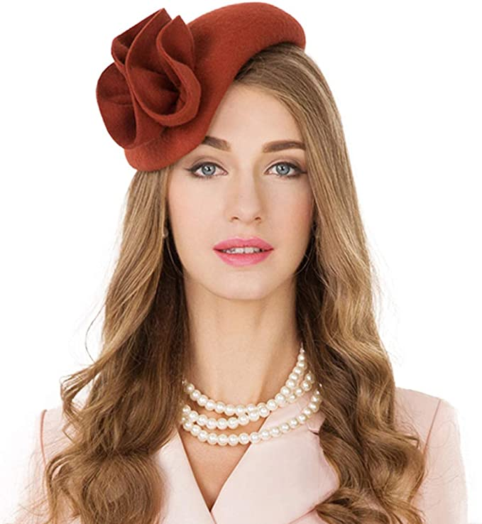 1950s Women's Hat Styles & History F FADVES Flower Womens Dress Fascinator Wool Felt Fedora French Pillbox Hat Party Wedding Teardrop Beret $39.98 AT vintagedancer.com