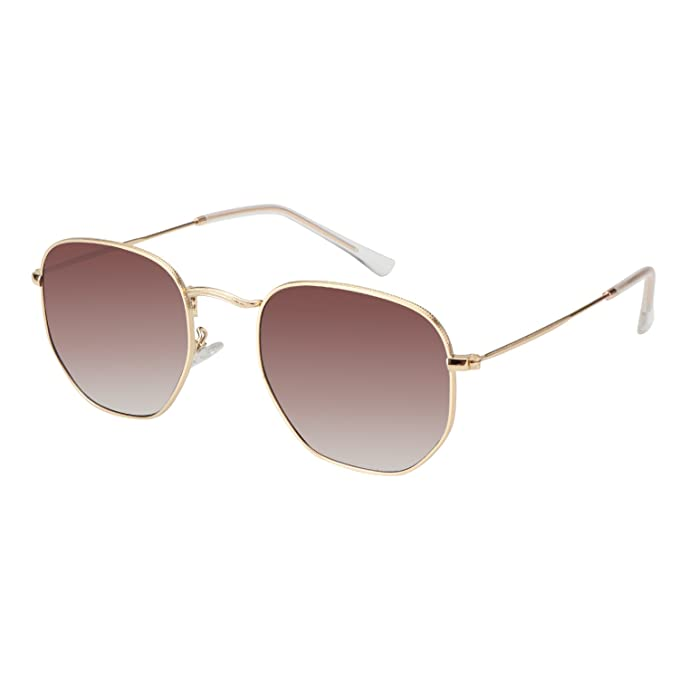 9fd5589f0a MEETSUN Classic Womens Sunglasses Small polygons Thin Flat Metal Frame  Glasses (Brown Gratient Lens