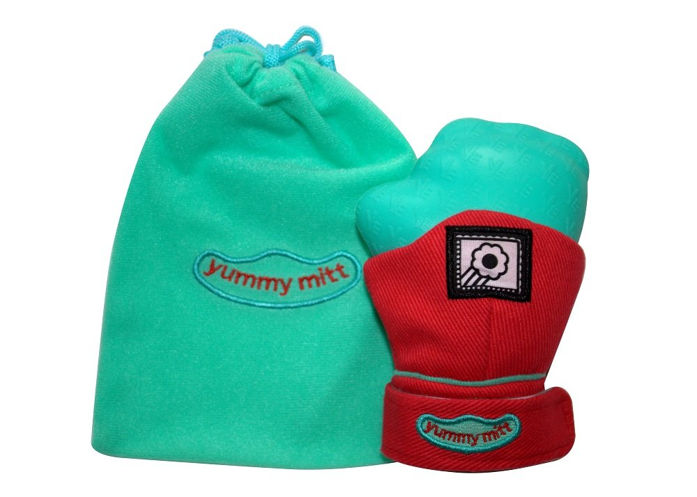Yummy Mitt (Glow in The Dark) Teething Mitten (Red & Turquoise)