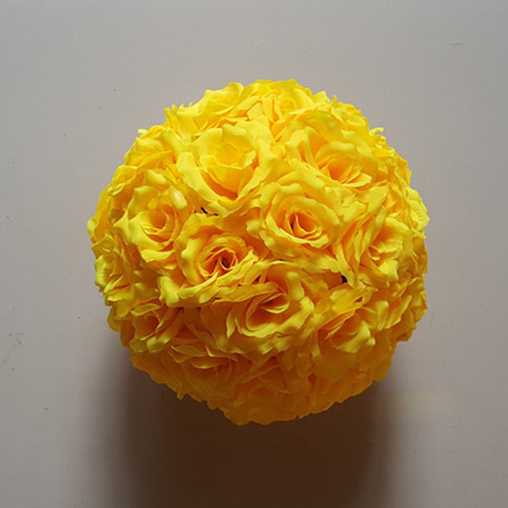 10 Pack 12 inch Artificial Rose Satin Pomander Kissing Balls for Home Wall Wedding Party Ceremony Decoration ,Yellow