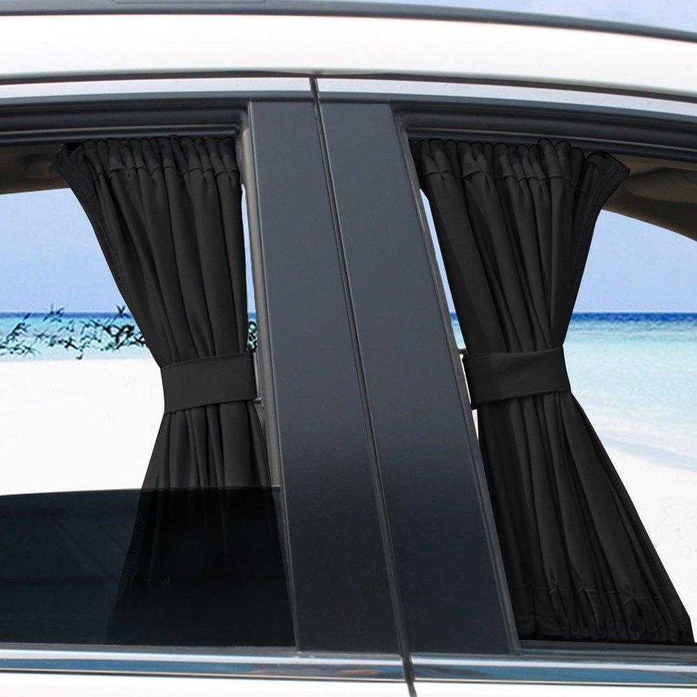2 x 50 s Cortina universal de la ventanilla del coche Coche ajustable Sombra del sol Cortina Visera Cenefa Cortina Parte delantera y trasera para beb/és y mascotas Reflectan UV Anti-Mosquito Negro