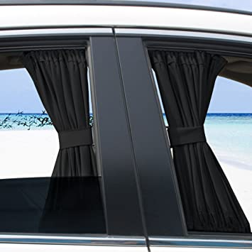 Car Window Curtain, 2 X 50s Car Interior Sun Shade Window Curtain  Adjustable Windshield SunShade
