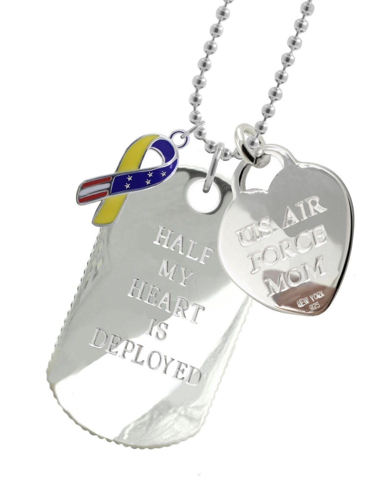 Solid Sterling Silver Air Force Mom Dog Tag YR
