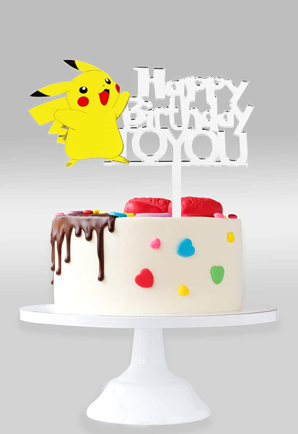 Pikachu Happy Birthday To You Cake Topper - Pokeman Go Theme Party Décor - Silver Mirrored Acrylic Baby Shower Child Birthday Party Supplies Decoration