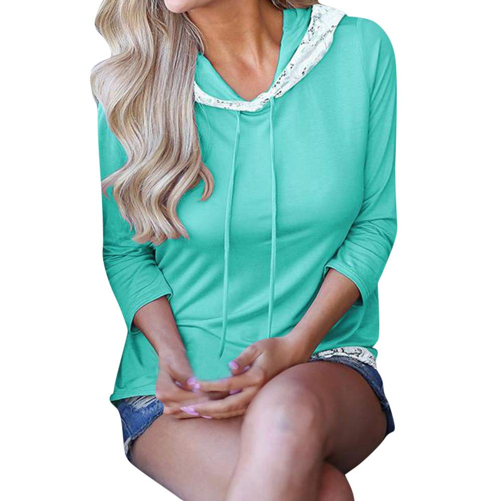 Amazon.com : Clearance!HOSOME Women Top Womens Autumn Fashion Womens Casual Solid Lace Stitching Hoodie Long Sleeve T-shirt Tops Blouse : Grocery ...