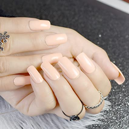 echiq Nude cuadrado uñas postizas natural Pure Color acabado color rosa uñas postizas con pegamento adhesivo