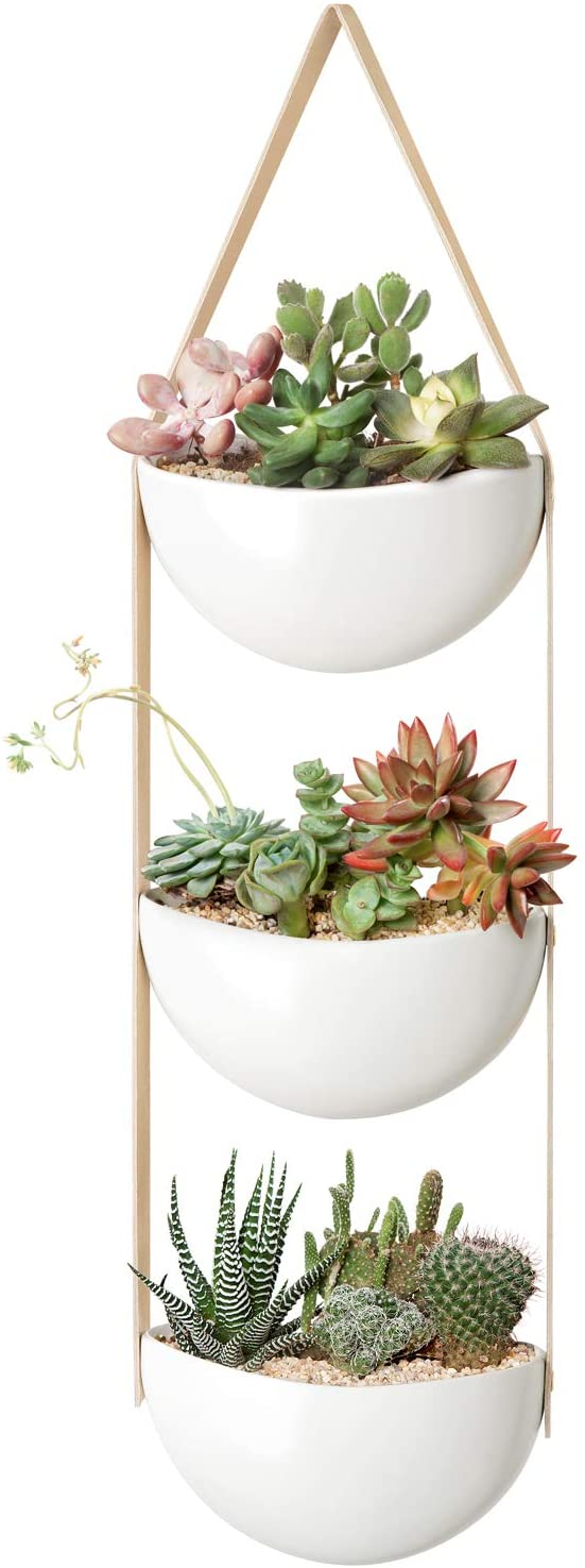 Mkono Ceramic Wall Hanging Planter 3 Tier Succulent Herb Planter for Indoor Plants,7 Inch Half-Moon Flower Pot with Leather Strap Modern Vertical Garden for Air Plants Live or Faux Plants Home Decor