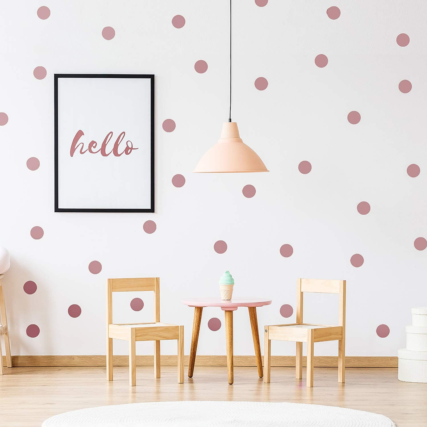 Outus 200 Pieces Wall Decal Dots Posh Dots Easy to Peel and Stick Removable Metallic Vinyl Polka Dot Decor, Round Circle Wall Decal Stickers for Festive Baby Nursery Room (Rose Gold)