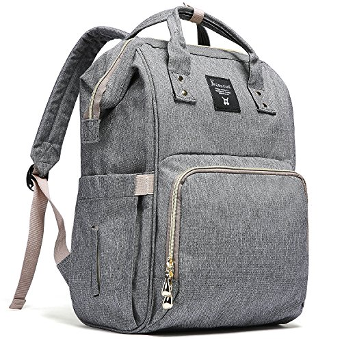 YEERDONE Diaper Bag Backpack Multi-Function Waterproof Maternity Nappy Bags Travel Baby – Large Capacity, Durable Stylish, Gray