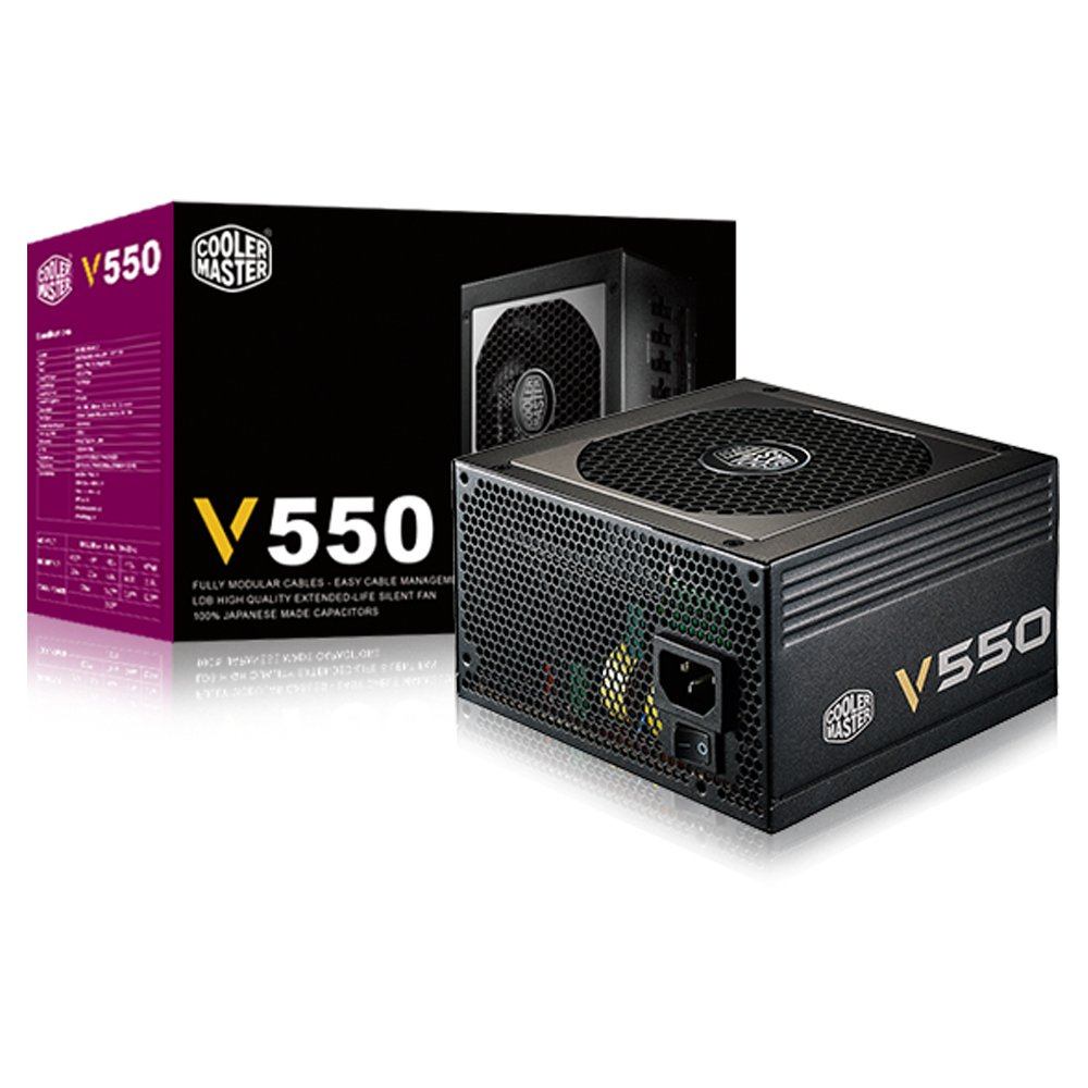Cooler Master V550-550W Compact Fully Modular 80 Plus Gold Power Supply RS550-AFBAG1-US