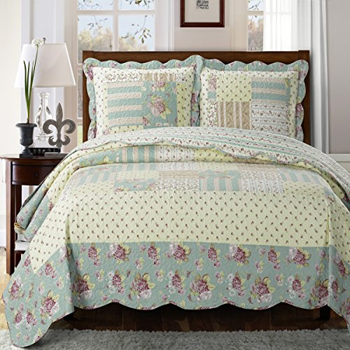 Deluxe Annabel oversized coverlet set. In soft cotton, the set features floral and stripe print fabrics quilted together in colors of burgundy, green, and yellow. Bed Cover Quilt 3 Pieces King Set