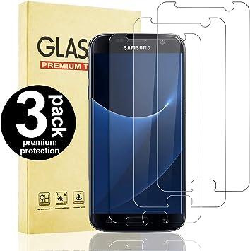Snnisttek 3 Unidades Protector Pantalla de Samsung Galaxy S7, 9H Dureza, Alta Definicion, Anti-Rayado, Anti-Huella Digital Samsung Galaxy S7 Cristal Templado: Amazon.es: Electrónica