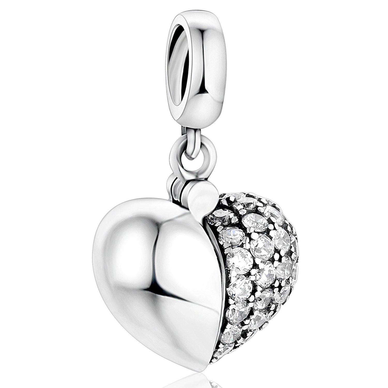 27af7c06e217 lovans Plata de ley 925 Cubic Zircon I Love You Corazón Encanto Para  Pulseras  Amazon.com.mx  Ropa