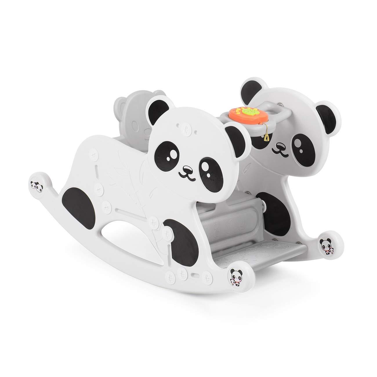 Baby Vivo Cheval à Bascule Musical Panda à Bascule Balançoire Bébé Jouet Enfant avec Élément de Musique