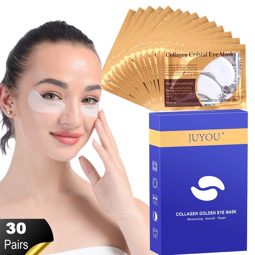 JUYOU Collagen Under Eye Patches, Hyaluronic Acid Eye Masks, Eye Treatment Pads for Anti-wrinkles, Puffy Eyes, Dark Circles, Eye Bags 30 Pairs by JUYOU