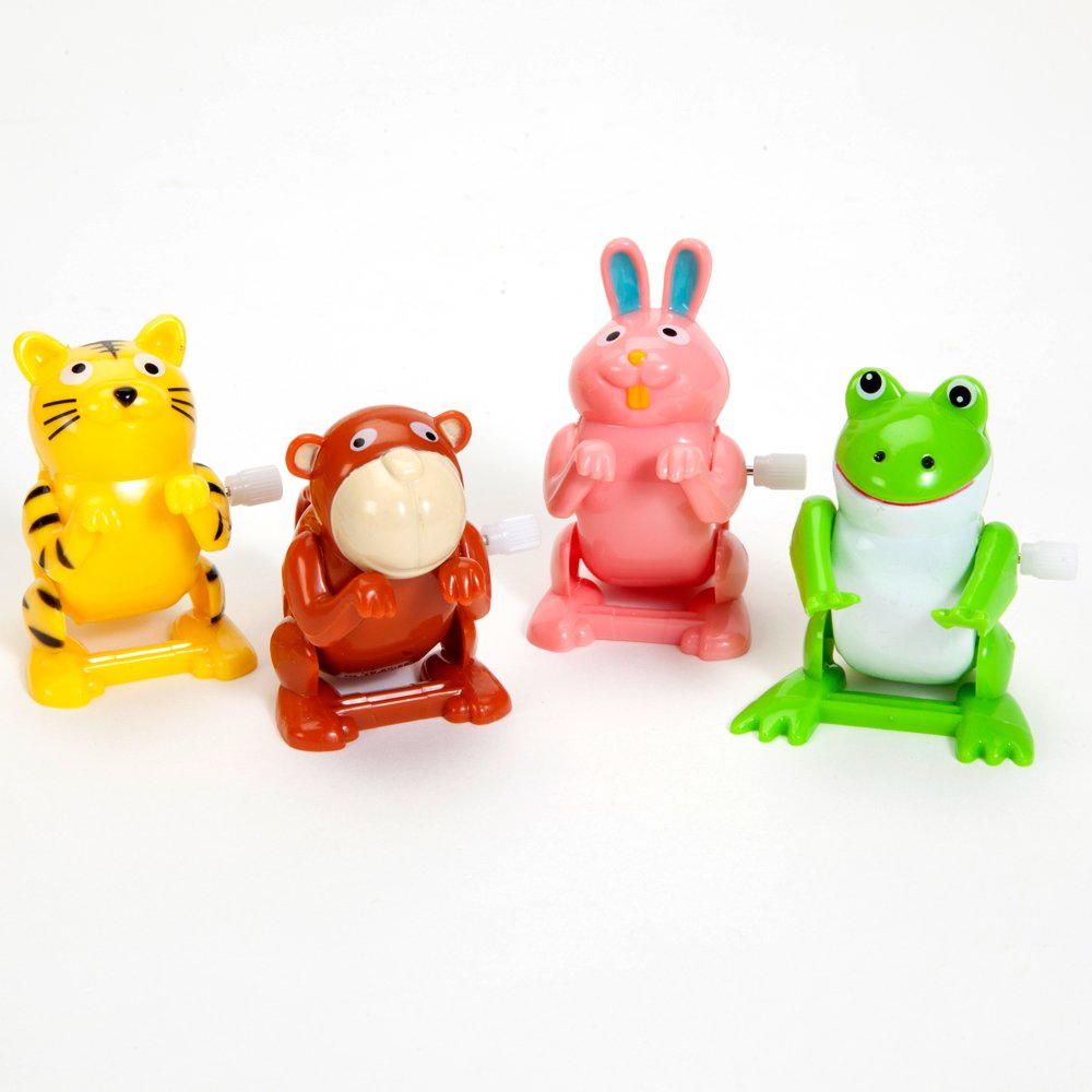 Bits and Pieces - Set Four (4) Wind up Flipping Animals - Rabbit, Monkey, Cat Frog Do Flips