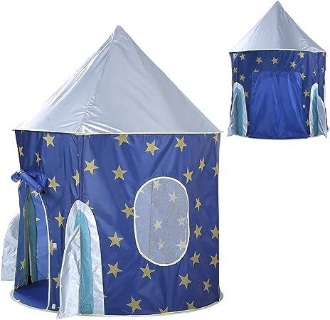 Toyvian Juego de niños Tienda de campaña para niños Cohete Interior Lindo Playhouse diseño de Nave Espacial imaginativo Tienda de campaña Gran Regalo para niños y niñas (Azul): Amazon.es: Hogar