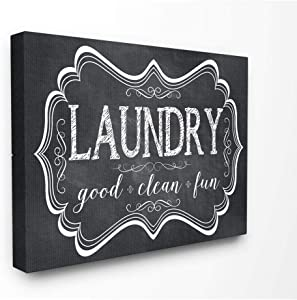 Stupell Home Décor Laundry Good Clean Fun Chalk Look Stretched Canvas Wall Art, 16 x 1.5 x 20, Proudly Made in USA