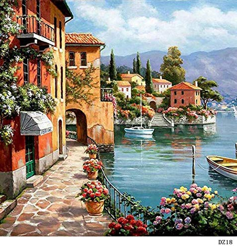 (Bigie DIY Oil Painting Paint by Numbers for Adults Scenery Painting Life for Adult Child Gifts 16x20 inch Silent Harbor (Frameless))