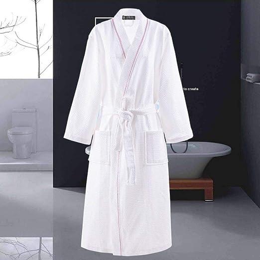 XUWLM Albornoz- Albornoz de algodón Hombres de Manga Larga Bata para Hombre Sudor Evaporar Parejas Batas de baño Kimono Batas de Hotel SPA Bata, Blanco, línea Rosa, XL: Amazon.es: Hogar
