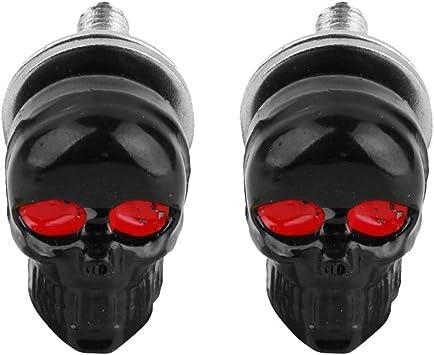 R SODIAL 1 Pair Motorcycle Skull Number Plate Frame Screws Fitting Screw Black