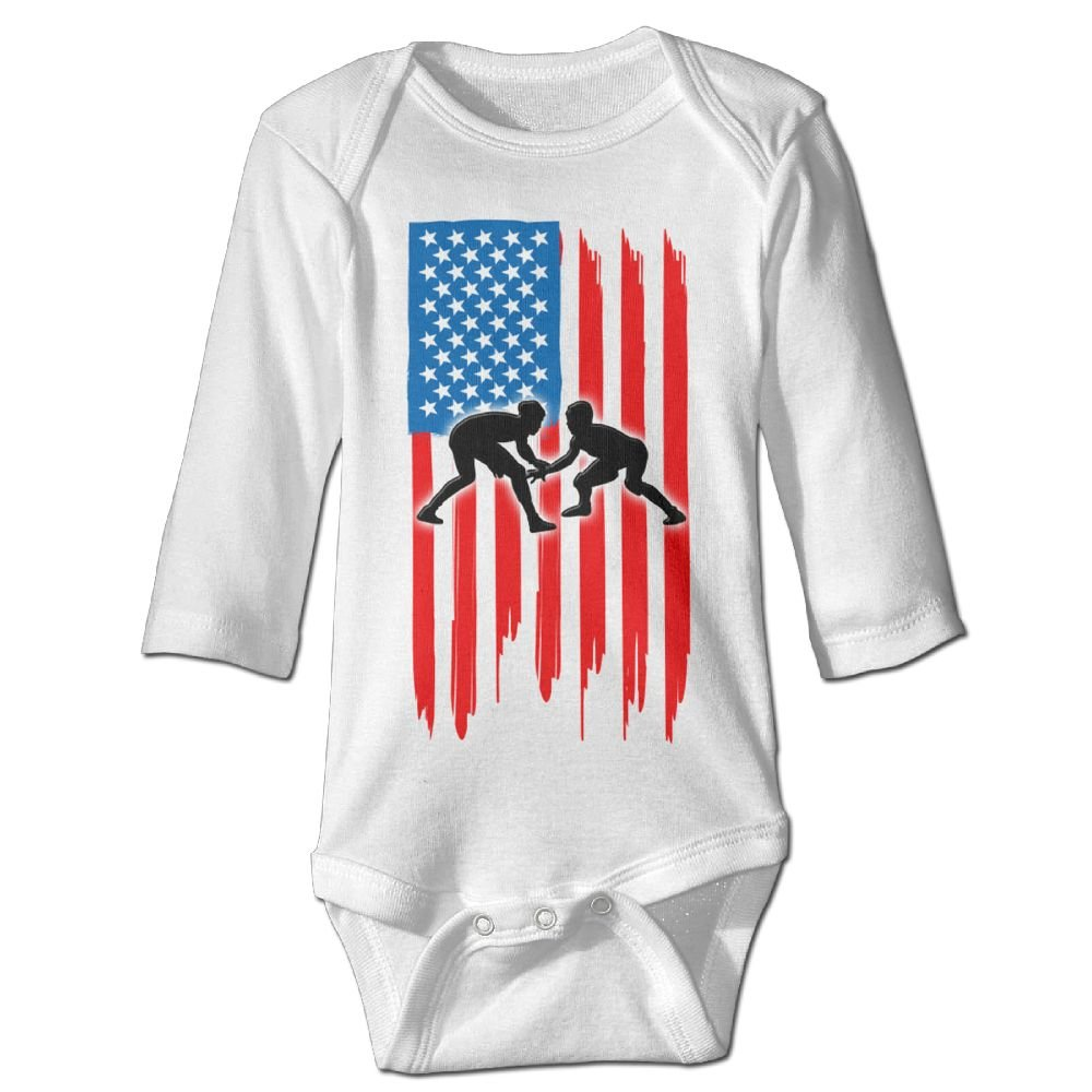 Kmeiqufan American Flag Wrestling Baby Long-Sleeved Bodysuit Jumpsuit Outfits