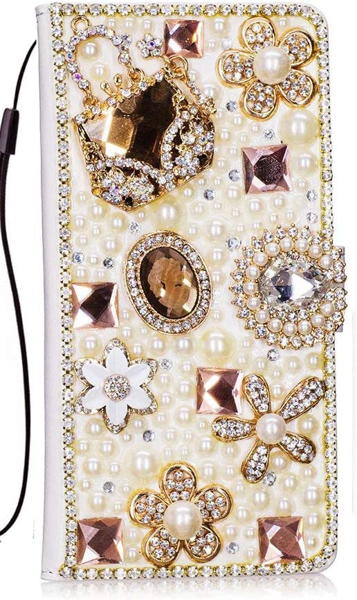 STENES iPhone XR Case - Stylish - 3D Handmade Bling Crystal Bag Flowers Floral Design Magnetic Wallet Credit Card Slots Fold Stand Leather Cover for iPhone XR - Gold