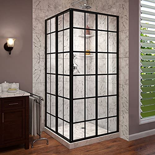 DreamLine French Corner 34 1 2 in. D x 34 1 2 in. W x 72 in. H Framed Sliding Shower Enclosure in Satin Black, SHEN-8134340-89