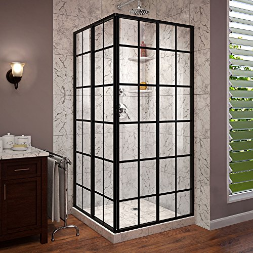 DreamLine French Corner 34 1 2 in. D x 34 1 2 in. W x 72 in. H Framed Sliding Shower Enclosure in Satin Black, SHEN-8134340-89