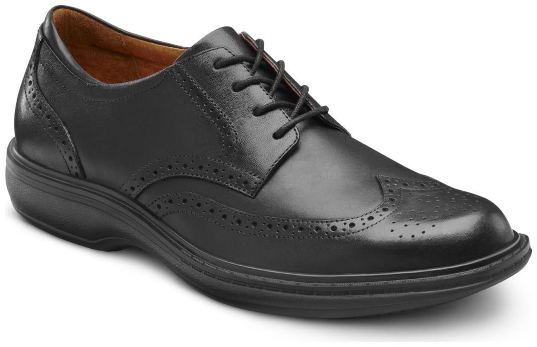 Dr. Comfort Men's Wing Black Diabetic Dress Shoes 10.5 2E US|Black