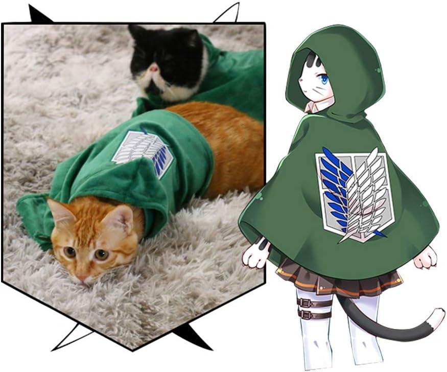 Amazon Com Pet Costume Cat Dog Cosplay Attack On Titan Anime Cartoon Plush Cloak Scouting Legion Freedom Cloak Cape Pet Costumes Kitchen Dining