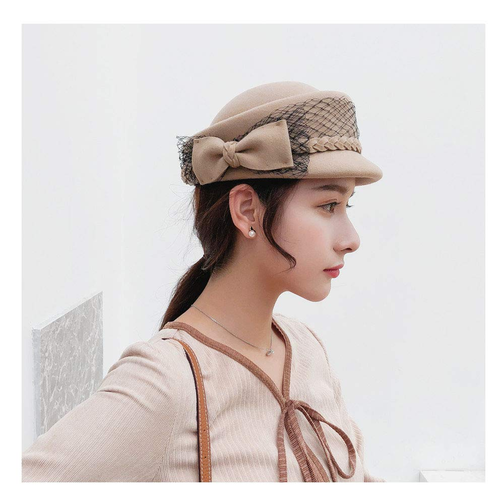 For women's hats Wool Felt Fedoras Bow lace Autumn Winter Hats for Women Forward Hat For Lady Newsboy Cap (Color : Tan, Size : 56-58cm)