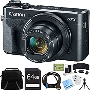 Canon PowerShot G7 X Mark II Zoom Digital Camera w/ 64GB Accessory Bundle includes Camera, Bag, 64GB SDXC Memory Card, HDMI Cable, Card Wallet + Reader, Cleaning Kit, Beach Camera Cloth and More