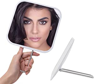YEAKE Hand Mirror with Handheld Metal Stand, Table Desk Makeup Mirror Portable Travel for Multi-Hanging Wall Mirror On Bathroom Shower Shaving(Square)