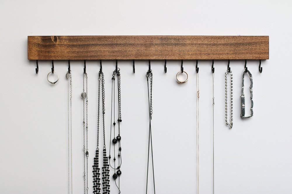 Long 15 Dark Walnut Natural Wood Wall Jewelry Organizer/Necklace Handmade Holder Hooks Key Holder Hanging Stand Rustic Decor/Best gift idea / 15 black hooks bottom