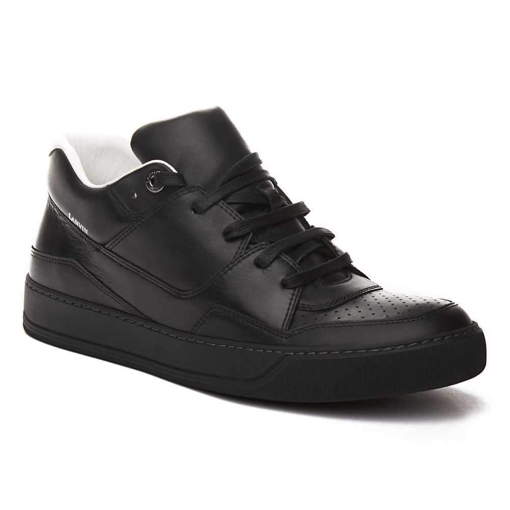 b72aaa844aa Amazon.com | LANVIN Men's Leather Mid-Top Sneaker Shoes Black | Shoes