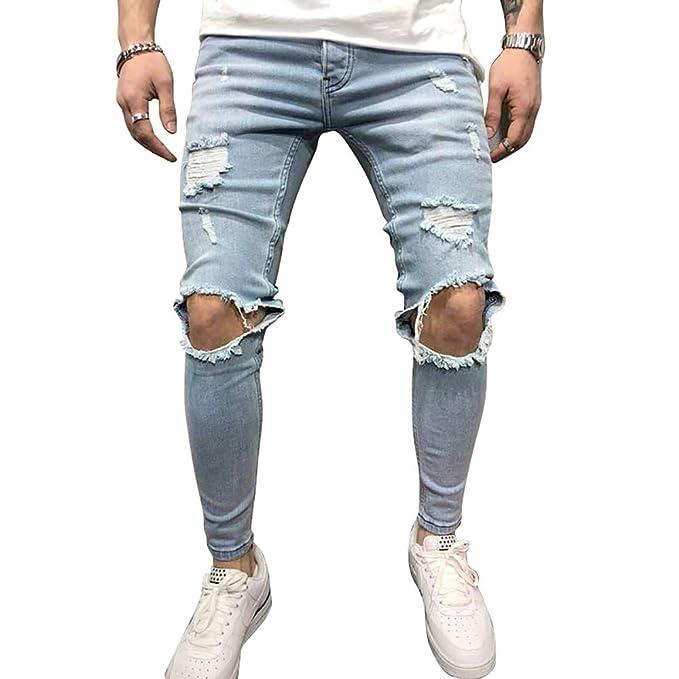 c95b5c8358 BMEIG Jeans Hombres Rotos Slim Fit Ripped Estiramiento Rodilla Destruido  Flaco Denim Apenado Biker Jeans Diseñador Clásico Orificios Hip Hop  Pantalones de ...
