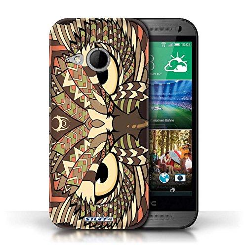 Etui / Coque pour HTC One/1 Mini 2 / Hibou-Sépia conception / Collection de Motif Animaux Aztec