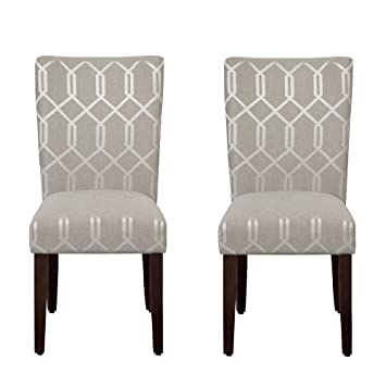 Pewter Grey Cream Lattice Elegance Parson Chairs (Set Of 2)