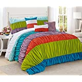 Holiday Season Special Offers - 7 Piece Blue Green White Purple Comforter Set Queen king Size - Hand