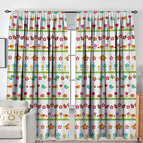 Petpany Rod Pocket Drapes Kids,Lovely Border Designs with Birds Ladybugs and Summer Flowers Cheering Nature Cartoon,Multicolor,All Season Thermal Insulated Noise Reduce Curtains 54