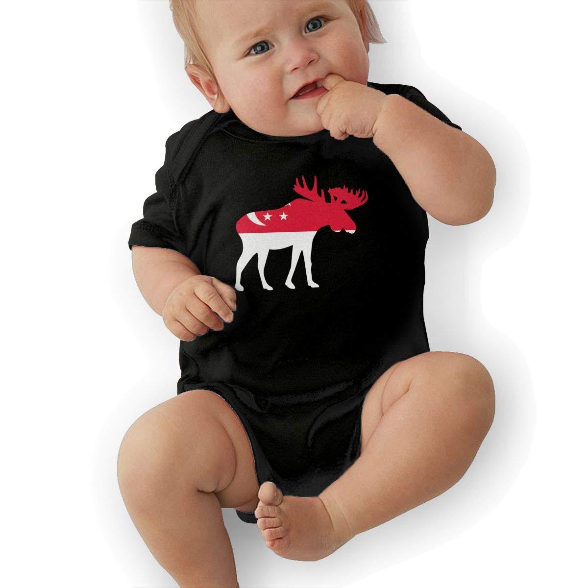 Soft Singapore Moose Crawler U88oi-8 Short Sleeve Cotton Bodysuit for Baby Girls Boys