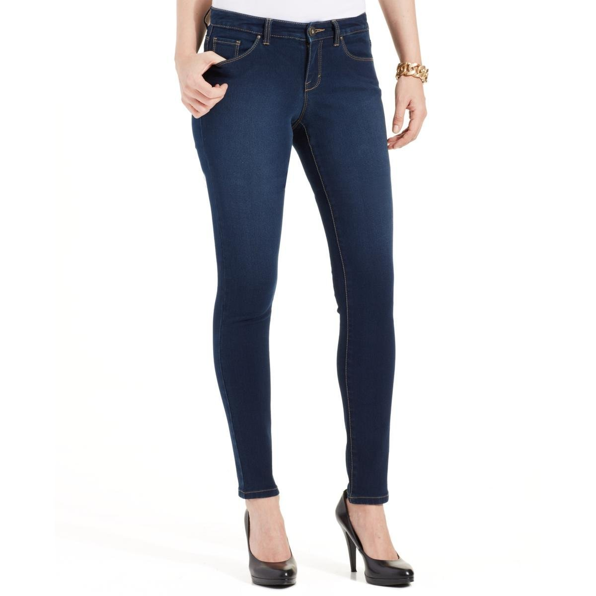 Style & Co.. Womens Petites Curvy Fit Tummy Control Ankle Pants Blue 4P
