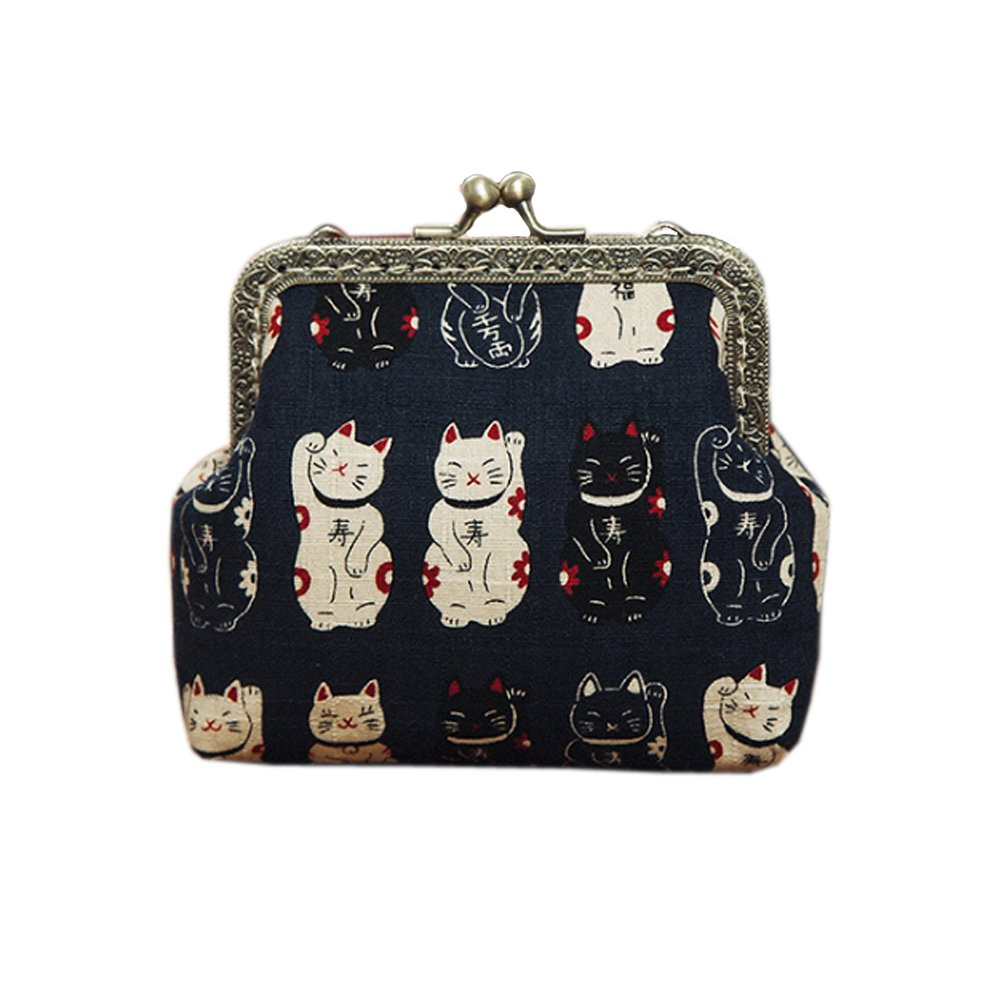 Coin Purse Japanese Style Beckoning Cat For Women and Girl Clutch Pouch Wallet Value by Kigurumi