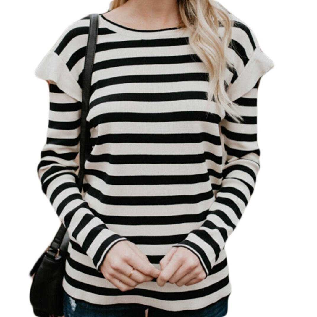 f8aa6a5e USGreatgorgeous Women's Black and White Striped Ruffles Casual Long Sleeve  T Shirt Blouse Tops at Amazon Women's Clothing store: